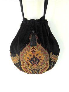 Black Velvet Tapestry Pocket Boho Bag  by piperscrossing on Etsy