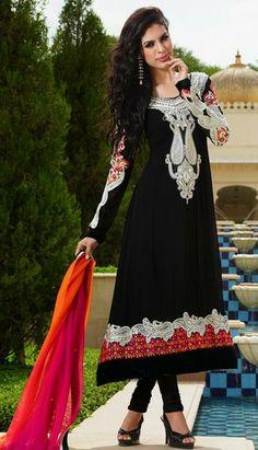 Black Embroidered Georgette Anarkali Salwar Kameez 27248