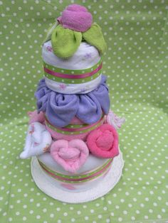 Blossom Cake for a Baby Girl Mini Diaper Cake by babyblossomco, $45.00