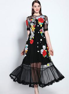 Floral Printed Lace Patchwork Delightful Maxi Dress