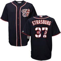Washington Nationals Cool Base MLB Custom Navy Logo Jersey