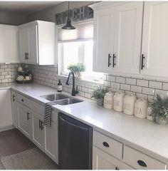 home decor kitchen cool 52 Cozy Color Kitchen Cabinet Decor Ideas Kitchen Cabinets Decor, Kitchen Cabinet Colors, Cabinet Decor, Farmhouse Kitchen Decor, Home Decor Kitchen, Diy Kitchen, Home Kitchens, Kitchen Backsplash, Kitchen Countertops