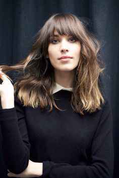Alexa Chung's hair is my heart's song. #bangs #alexachung