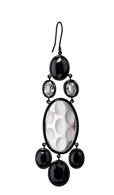 Earrings made out of rock crystal with black and white sapphires. #MurielGrateau#Jewellery #Crystal