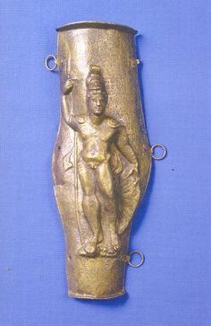 Roman greave with god Mars, Croatia, found in Sava river. Štitnik za nogu s likom boga Marsa (iz korita Save)
