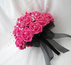 Wedding flowers - brides posy bouquet in hot pink roses, crystals and diamantes Prom Flowers, Flower Bouquet Wedding, Pink Black Weddings, Hot Pink Roses, Bride Bouquets, Wedding Colors, Just In Case, Wedding Decorations, Wedding Ideas