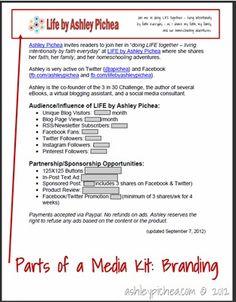 HT Create a Media Kit  http://homeschoolblogging.com/how-to-create-a-media-kit/#