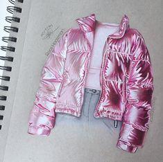 Holographic Jacket, Holographic Fashion, Fashion Design Drawings, Fashion Sketches, Jacket Drawing, Fashion Desinger, Fashion Illustration Dresses, Illustration Mode, Illustrations