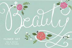 Beauty – Floral Vector Set #floralelements #customfonts #handmadelogos #watercolorshapes #greetingcards #fabricproducts