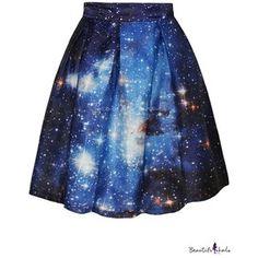 Blue Galaxy Print Flare A-Line Skirt