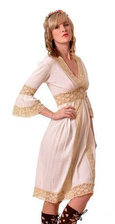 Crochet Trim Hippie Dress | Damsel Vintage - 60s Vintage Fashion
