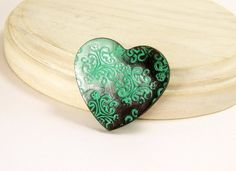 Heart Brooch Pin Brooch Mint Green and Black by BobblesByCarol