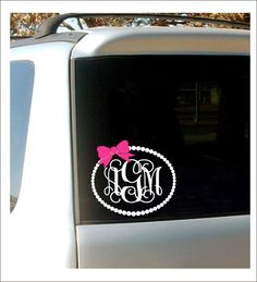Monogram Car Decal Monogram with Bow Pearl by CustomVinylbyBridge