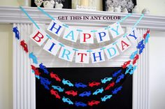 Happy Birthday banner, cars birthday decorations, boys 1st Birthday banner, first birthday racing cars garland, royal blue red, turquoise