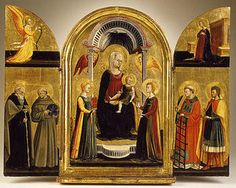 Neri di Bicci ~ Madonna with Child and Saints ~ 1440-1450 ~ tempera on panel ~ tryptich ~ formerly part of the Ingenheim Collection and currently owned by  Los Angeles County Museum of Art, Los Angeles