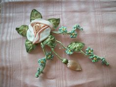 1 Antique ribbon work rose with hanging tendrils by TextileArtLace, $76.00