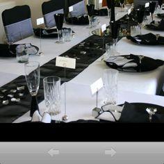 Black white wedding table