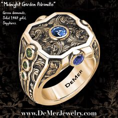 This is a customized version of our beloved Adronitis power ring (this one has green diamonds and cornflower sapphires). You can customize yours nearly any way you want! Message us today!