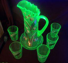 Antique Green Gold Enamel Painted Pitcher and Tumbler Set Vaseline Uranium Glass