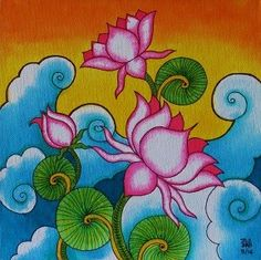 Super How To Paint Flowers On Canvas Awesome Ideas Saree Painting, Kerala Mural Painting, Madhubani Painting, Fabric Painting, Painting Flowers, Kalamkari Painting, Lotus Painting, Pichwai Paintings, Indian Paintings