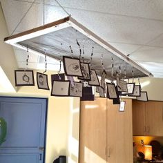 Self-Identity Chandelier made from recycled screen door, beads, wire and BW self portraits of the kiddos! Reggio Classroom, Classroom Layout, Classroom Design, Kindergarten Classroom, Classroom Decor, Displaying Kids Artwork, Artwork Display, Hanging Artwork, Fairy Dust Teaching