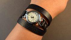 Zwart horloge-Wrap Watch-pols horloge-lederen door 4MLeatherDesign