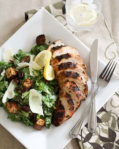 Ceasar Salad and Grilled Chicken Breast. This recipe looks AMAZING and really healthy.