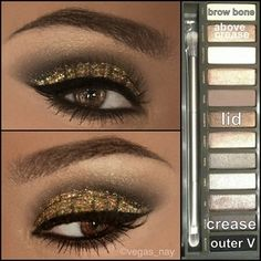 Naked Palette 2 Glitter and Gold Smokey Eye