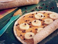 Easy peanut butter and banana (and chocolate chips) sandwich. Yum!