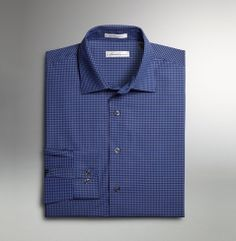 Blue Mini-Check Dress Shirt - Man Up for Midday  - Kenneth Cole