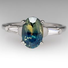 Bi-Color Blue Green Sapphire Engagement Ring Tapered Baguette Diamonds