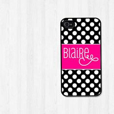 Personalized iPhone 4 Case Preppy Black and White by BeeCovered, $16.00