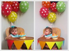 I like the balloons behind the highchair and the colors on the bunting. Bunting + hat + balloons + high chair