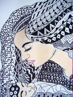 Zentangle hair - student work - natasha my middle school art projects. Middle School Art, Art Drawings, Zentangle, Picture Design, Nature Drawing, Art Journal, Art Inspiration, Artwork Painting, Art Prints For Home