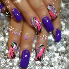 Hey I love the purple! Creative Nail Designs, Colorful Nail Designs, Creative Nails, Nail Art Designs, Fancy Nails, Bling Nails, Trendy Nails, Stiletto Nails, Jolie Nail Art