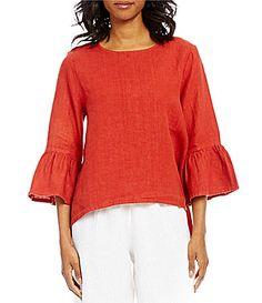 e4585d053c Bryn Walker Fran 3 4 Bell Sleeve Hi-Low Linen Shirt