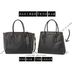 The Madison Tech Tote. One bag - two ways!  Comes in red or black!  $158  shop yours now at www.stelladot.com/kalehua