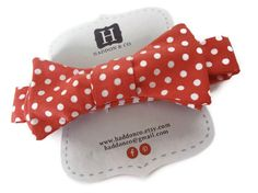 Boys Bow Tie  Coral Salmon  Polka Dots  Adjustable by HaddonCo, $20.00