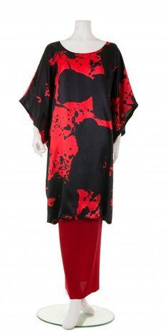 Okishi Black and Red Silk Tunic-Dress, £325.00. 100% silk. | idaretobe