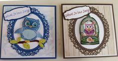2 van de 10 Easy 3-D toppers plaatjes met de rand van Marieke en de tekst van Eline.