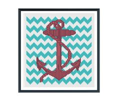 Anchor with Teal Chevron Cross Stitch Pattern PDF Chart. $6.00, via Etsy. | tinymodernist | Modern Cross Stitch Patterns and Kits