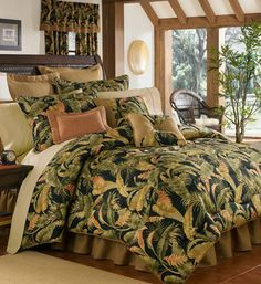 Thomasville La Selva Bedding - Best Sales and Prices Online! Home Decorating Company has Thomasville La Selva Bedding Black Comforter, King Comforter Sets, King Duvet, Tropical Bedding, Tropical Decor, Tropical Bedrooms, Bohemian Bedrooms, Indian Bedding, Green Duvet Covers