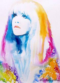 Retro 1970s Fashion Art Print Original by KimberlyGodfrey on Etsy