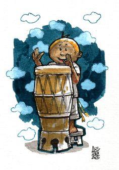 Illustration : Capoeira – 810 [ #capoeira #watercolor #illustration] aquarelle sur papier 300gr / watercolor on paper 300gr 10.5  x 14.8 cm / 4.1 x 5.8 in
