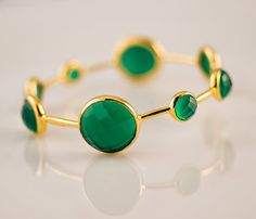 Green Onyx Bracelet - Green Onyx Bangle - Bezel set gemstone bangle - gold bangle