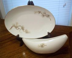 Gravy Boat & Underplate/Relish in Larchmont Patt (Brown Pine Branch) by Sango