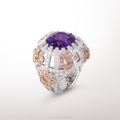 Lathyrus ring, Les Jardins collection White gold, pink and white diamonds, one cushion-cut violet sapphire of 12.88 cts. The Lathyrus ring from Les Jardins collection is inspired by the elegance of the French gardens. Through this creation, Van Cleef