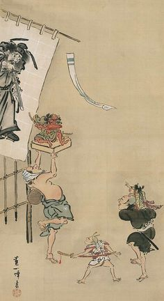 """Scene from """"Boys Day"""" celebration. Main detail of a hanging scroll; ink and color on silk, first half 18th century, Japan, by artist Hanabusa Ippo. MFA"""