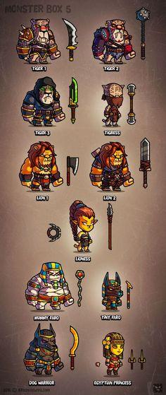 Monster Art-box 5 Characters on Behance Game Character Design, Character Concept, Game Design, Character Art, Game Concept Art, Weapon Concept Art, 2d Rpg, 2d Game Art, Pix Art