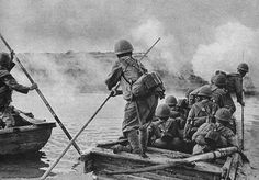japanese marines  naval troops crossing a river